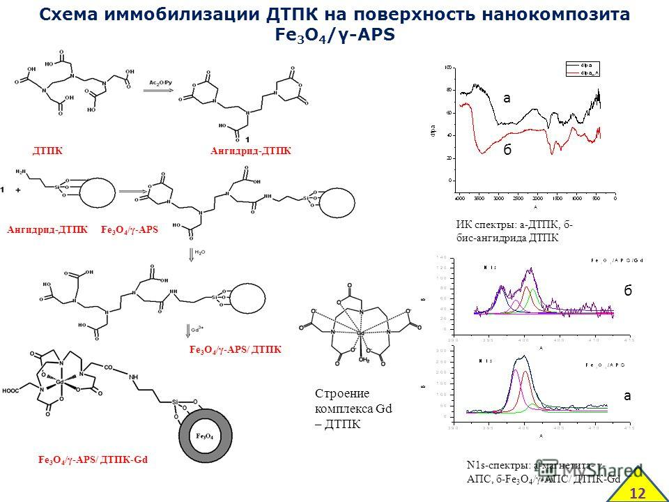 Схема иммобилизации ДТПК на поверхность нанокомпозита Fe 3 O 4 /γ-APS ДТПКАнгидрид-ДТПК Fe 3 O 4 /γ-APS Fe 3 O 4 /γ-APS/ ДТПК-Gd Fe 3 O 4 /γ-APS/ ДТПК Ангидрид-ДТПК Строение комплекса Gd – ДТПК ИК спектры: а-ДТПК, б- бис-ангидрида ДТПК а б N1s-спектр