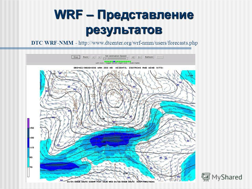 DTC WRF-NMM - http://www.dtcenter.org/wrf-nmm/users/forecasts.php WRF – Представление результатов