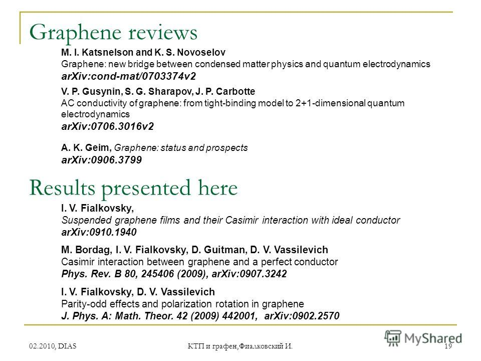02.2010, DIAS КТП и графен,Фиалковский И. 19 Graphene reviews A. K. Geim, Graphene: status and prospects arXiv:0906.3799 M. I. Katsnelson and K. S. Novoselov Graphene: new bridge between condensed matter physics and quantum electrodynamics arXiv:cond