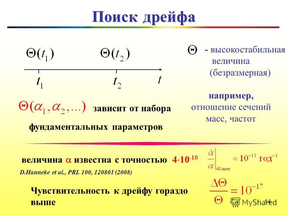 14 Поиск дрейфа - высокостабильная величина (безразмерная) например, отношение сечений масс, частот зависит от набора фундаментальных параметров 14 D.Hanneke et al., PRL 100, 120801 (2008) величина известна с точностью 4 10 -10 Чувствительность к дре