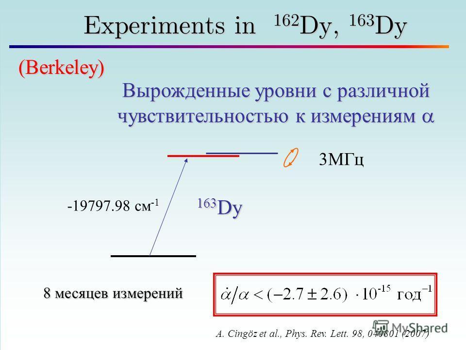 50 Experiments in 162 Dy, 163 Dy Вырожденные уровни с различной чувствительностью к измерениям Вырожденные уровни с различной чувствительностью к измерениям A. Cingöz et al., Phys. Rev. Lett. 98, 040801 (2007) 3МГц 163 Dy 8 месяцев измерений (Berkele