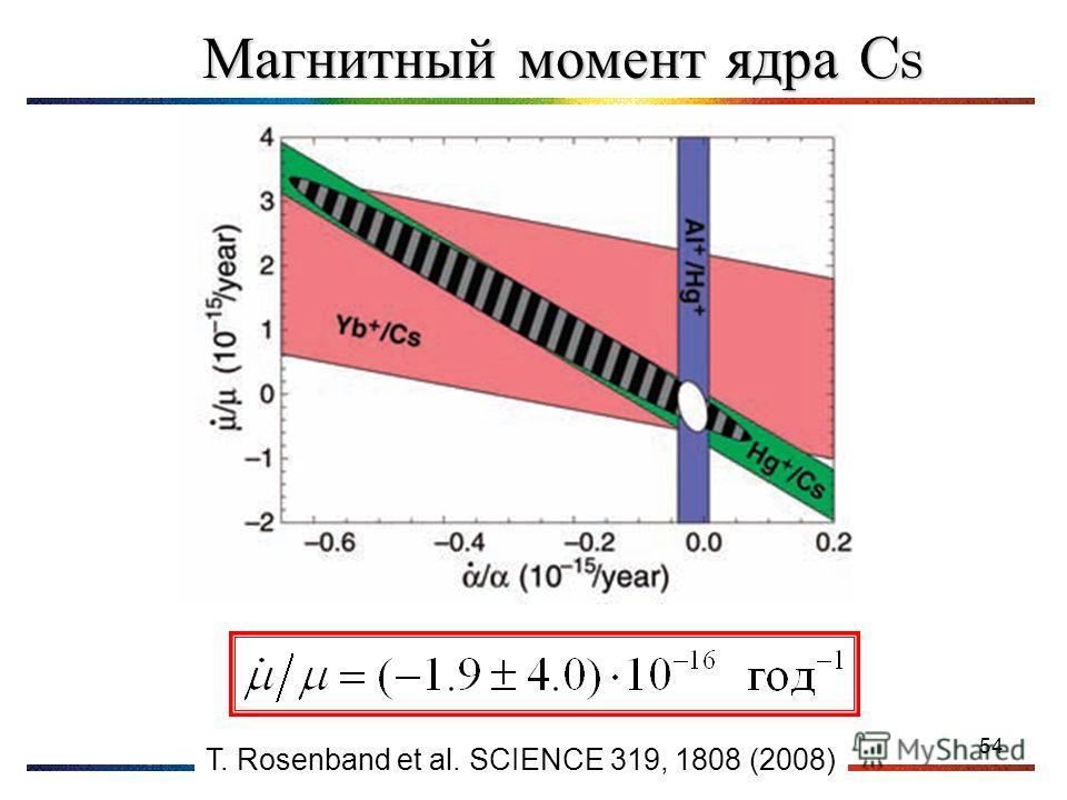 54 Магнитный момент ядра Cs T. Rosenband et al. SCIENCE 319, 1808 (2008)