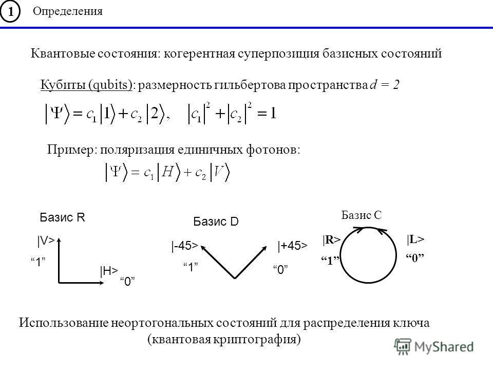 1 Определения Квантовые состояния: когерентная суперпозиция базисных состояний Кубиты (qubits): размерность гильбертова пространства d = 2 Пример: поляризация единичных фотонов: Базис R |V> |H> Базис D |-45>|+45> 1 0 1 0 Базис C |R> |L> 1 0 Использов
