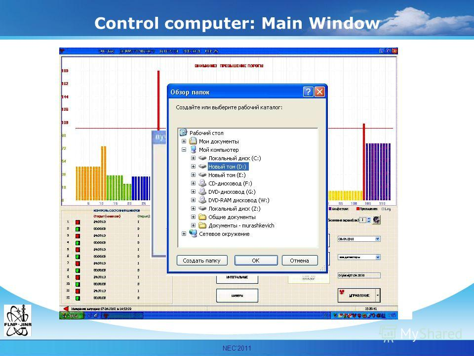 Мурашкевич С.М. ОИЯИ ЛНФ НЭОКС NEC2011 Control computer: Main Window