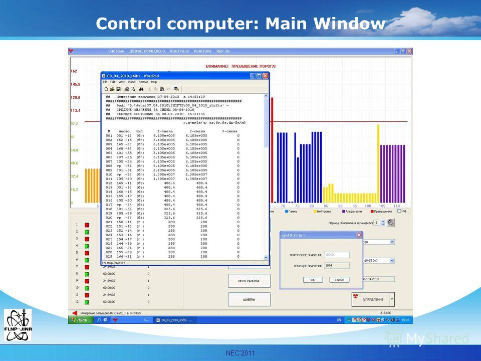 Мурашкевич С.М. ОИЯИ ЛНФ НЭОКС Control computer: Main Window NEC2011