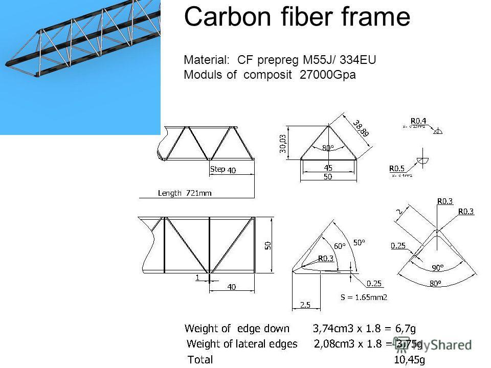 Carbon fiber frame Material: CF prepreg M55J/ 334EU Moduls of composit 27000Gpa