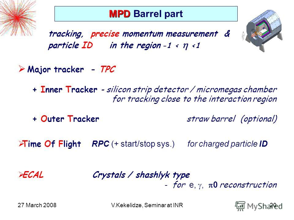 27 March 2008V.Kekelidze, Seminar at INR20 Major tracker - TPC + Inner Tracker - silicon strip detector / micromegas chamber for tracking close to the interaction region + Outer Tracker straw barrel (optional) MPD MPD Barrel part tracking, precise mo