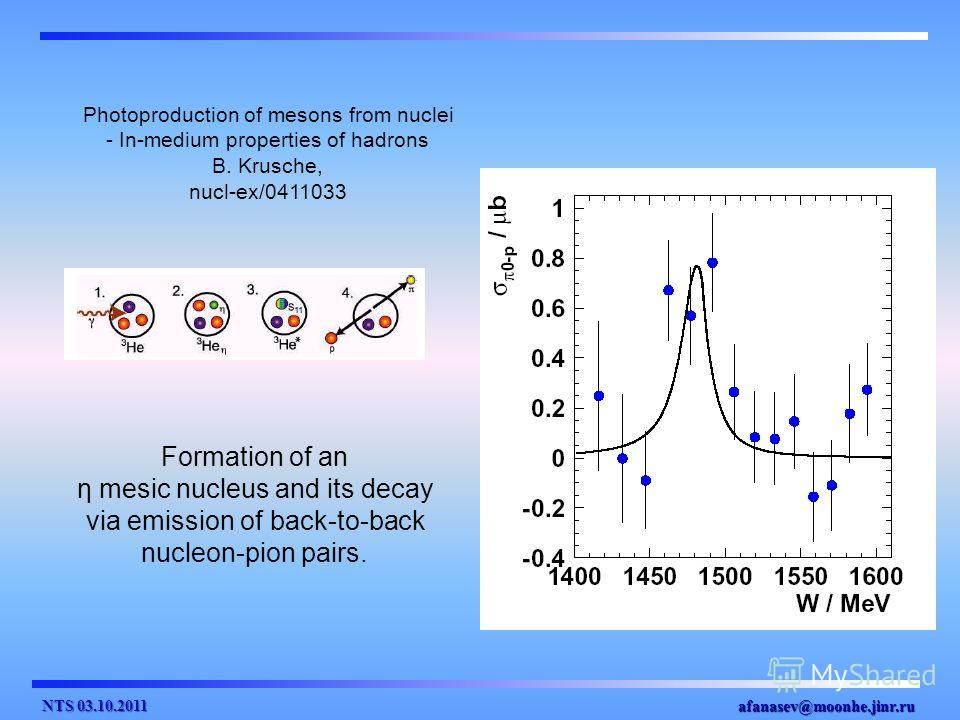 afanasev@moonhe.jinr.ru Formation of an η mesic nucleus and its decay via emission of back-to-back nucleon-pion pairs. Photoproduction of mesons from nuclei - In-medium properties of hadrons B. Krusche, nucl-ex/0411033 NTS 03.10.2011