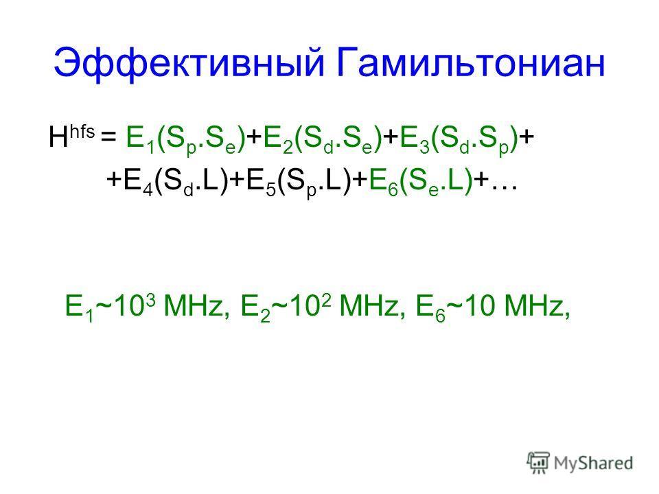 Эффективный Гамильтониан H hfs = E 1 (S p.S e )+E 2 (S d.S e )+E 3 (S d.S p )+ +E 4 (S d.L)+E 5 (S p.L)+E 6 (S e.L)+… E 1 ~10 3 MHz, E 2 ~10 2 MHz, E 6 ~10 MHz,