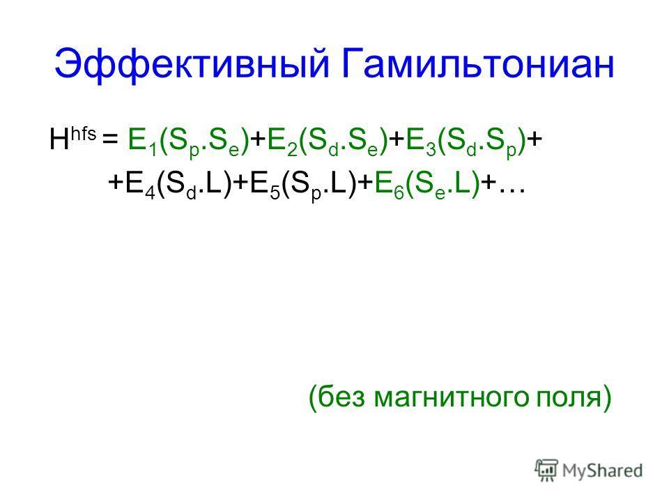 Эффективный Гамильтониан H hfs = E 1 (S p.S e )+E 2 (S d.S e )+E 3 (S d.S p )+ +E 4 (S d.L)+E 5 (S p.L)+E 6 (S e.L)+… (без магнитного поля)