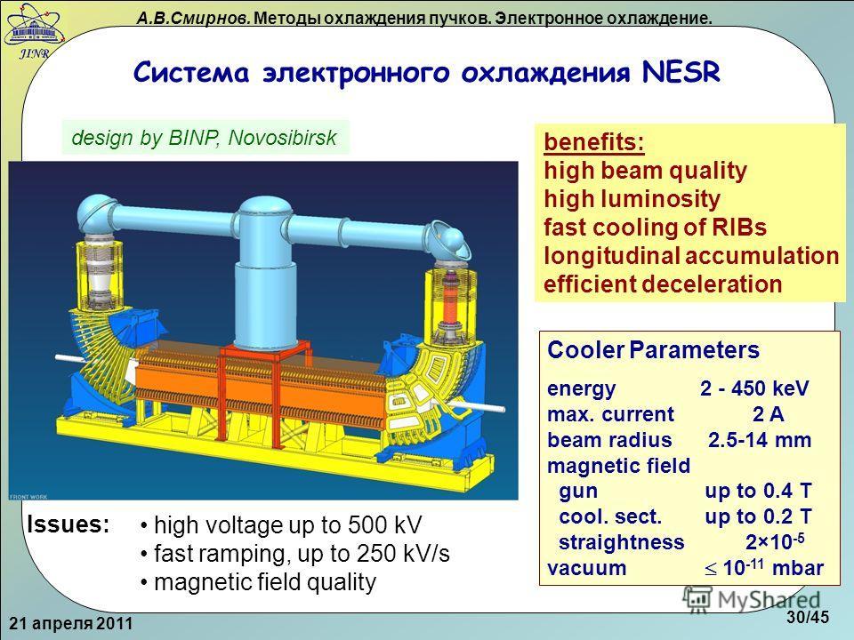 А.В.Смирнов. Методы охлаждения пучков. Электронное охлаждение. Система электронного охлаждения NESR 21 апреля 2011 design by BINP, Novosibirsk Cooler Parameters energy 2 - 450 keV max. current 2 A beam radius 2.5-14 mm magnetic field gun up to 0.4 T