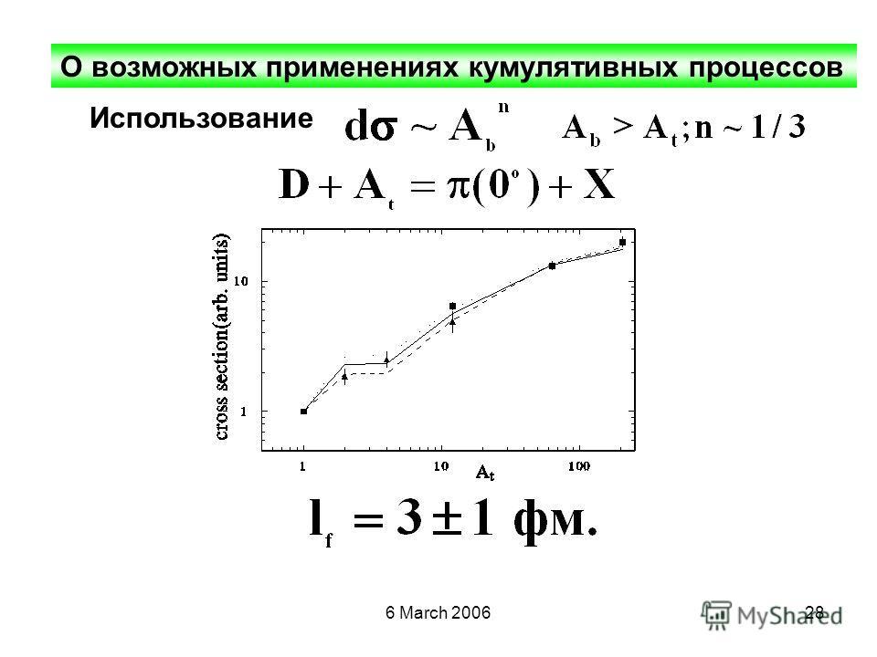 6 March 200628 О возможных применениях кумулятивных процессов Использование