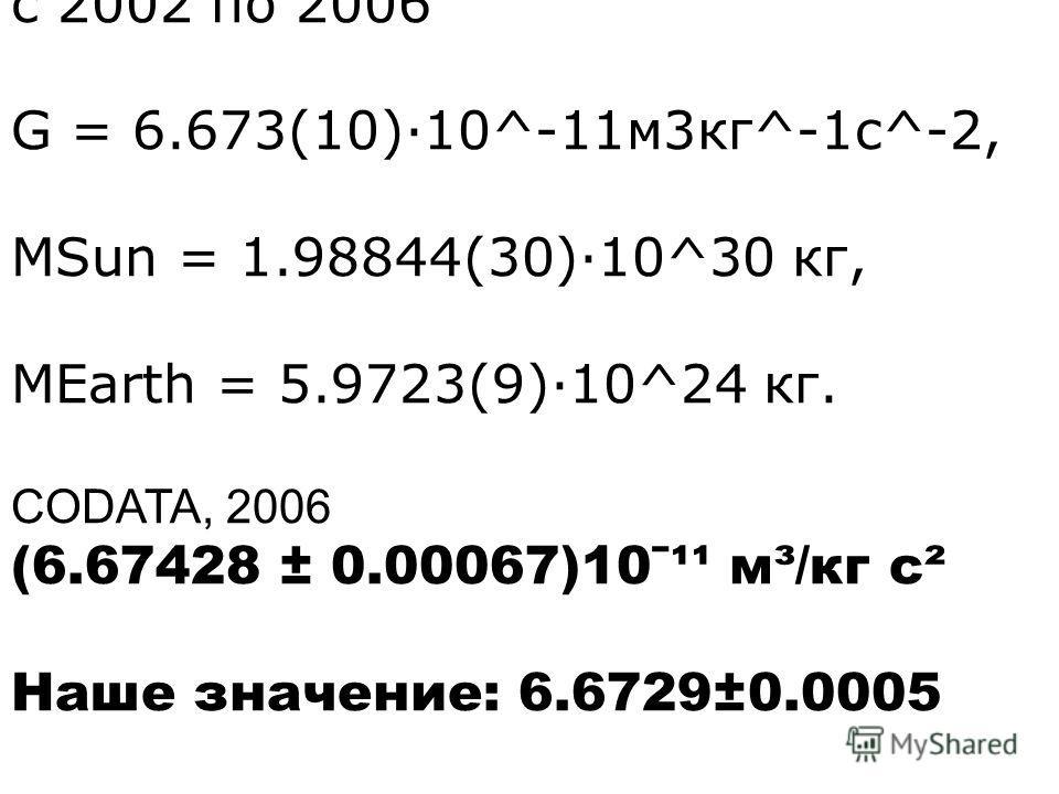 с 2002 по 2006 G = 6.673(10)·10^-11м3кг^-1c^-2, MSun = 1.98844(30)·10^30 кг, MEarth = 5.9723(9)·10^24 кг. CODATA, 2006 (6.67428 ± 0.00067)10ˉ¹¹ м³/кг с² Наше значение: 6.6729±0.0005