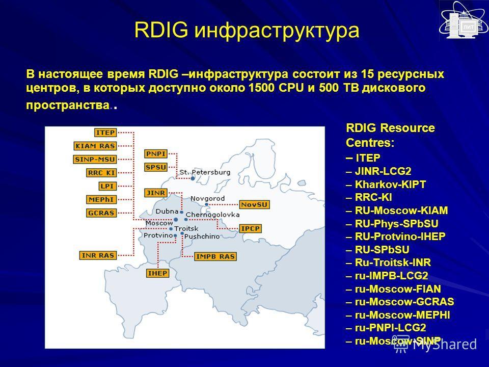 В настоящее время RDIG –инфраструктура состоит из 15 ресурсных центров, в которых доступно около 1500 CPU и 500 TB дискового пространства.. RDIG инфраструктура RDIG Resource Centres: – ITEP – JINR-LCG2 – Kharkov-KIPT – RRC-KI – RU-Moscow-KIAM – RU-Ph