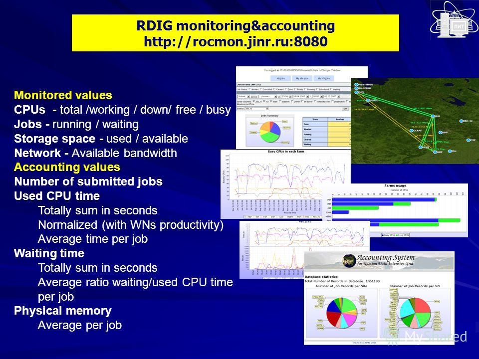 RDIG monitoring&accounting http://rocmon.jinr.ru:8080 Monitored values CPUs - total /working / down/ free / busy Jobs - running / waiting Storage space - used / available Network - Available bandwidth Accounting values Number of submitted jobs Used C