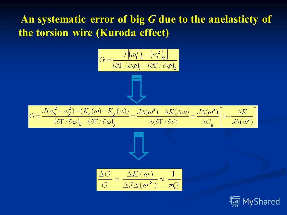 An systematic error of big G due to the anelasticty of the torsion wire (Kuroda effect)