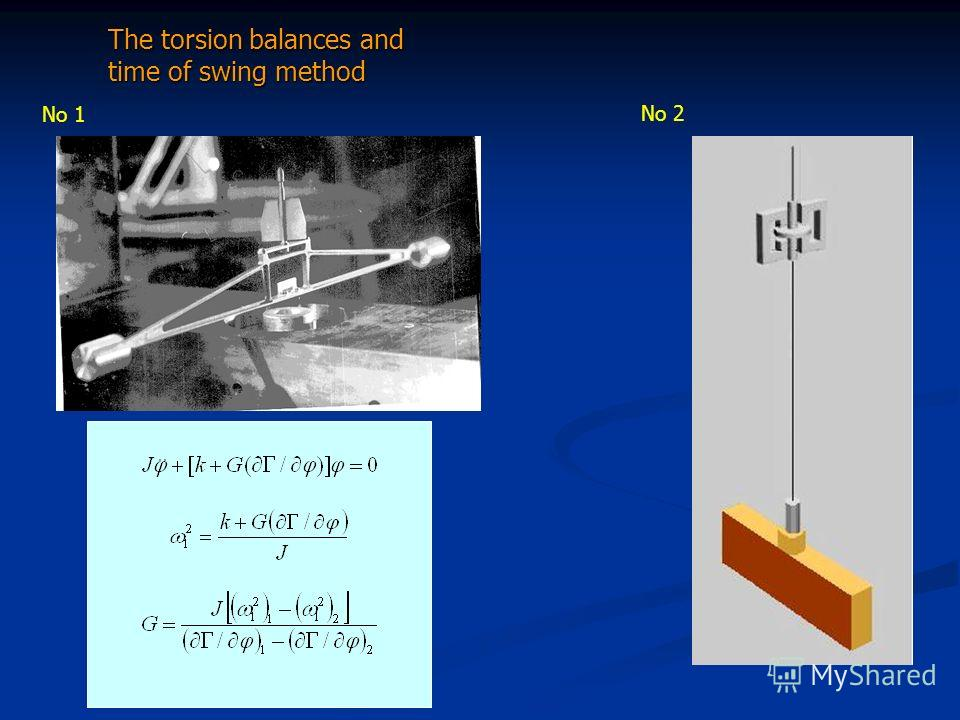 The torsion balances and time of swing method The torsion balances and time of swing method No 1 No 2