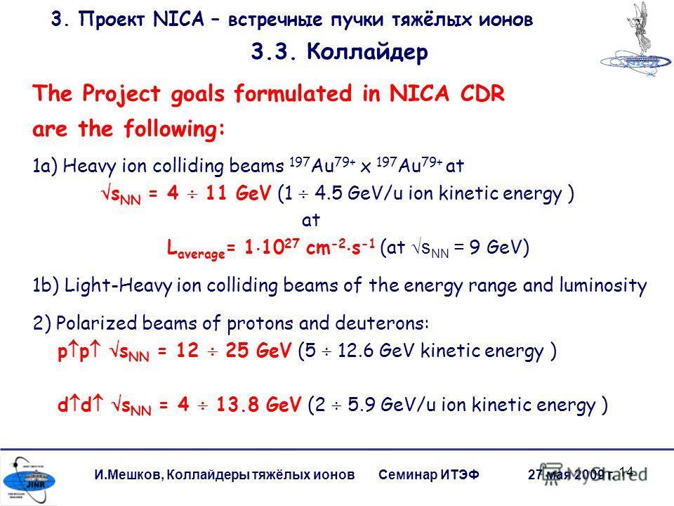 14 И.Мешков, Коллайдеры тяжёлых ионов Семинар ИТЭФ 27 мая 2009 г. 3. Проект NICA – встречные пучки тяжёлых ионов 3.3. Коллайдер The Project goals formulated in NICA CDR are the following: 1a) Heavy ion colliding beams 197 Au 79+ x 197 Au 79+ at s NN