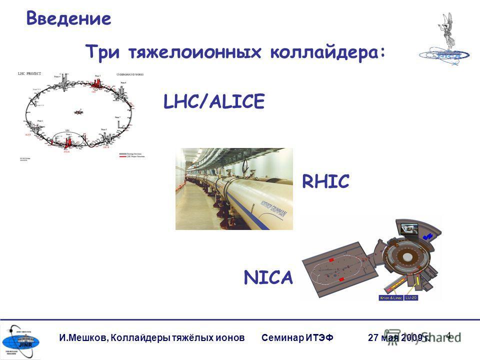 4 И.Мешков, Коллайдеры тяжёлых ионов Семинар ИТЭФ 27 мая 2009 г. Введение Три тяжелоионных коллайдера: RHIC NICA LHC/ALICE