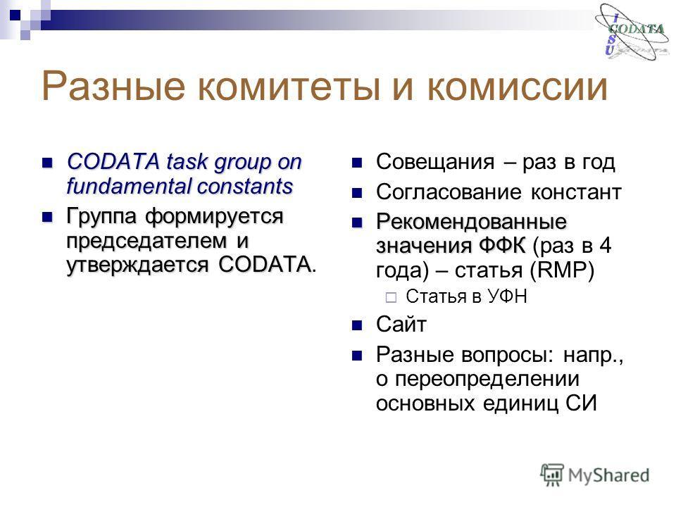 Разные комитеты и комиссии CODATA task group on fundamental constants CODATA task group on fundamental constants Группа формируется председателем и утверждается CODATA Группа формируется председателем и утверждается CODATA. Совещания – раз в год Согл