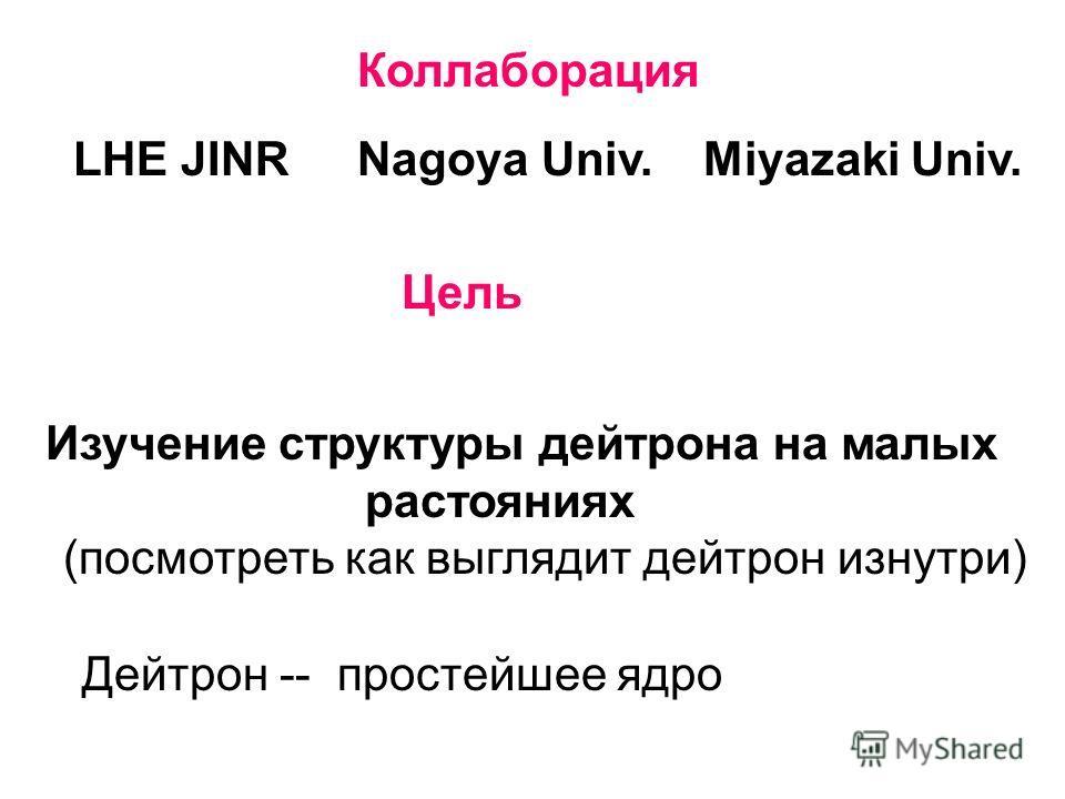 Коллаборация LHE JINRNagoya Univ.Miyazaki Univ. Цель Изучение структуры дейтрона на малых растояниях (посмотреть как выглядит дейтрон изнутри) Дейтрон -- простейшее ядро