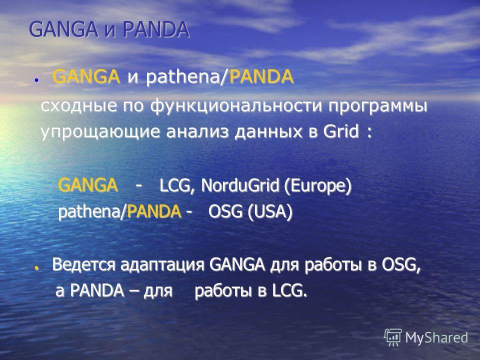 GANGA и PANDA GANGA и pathena/PANDA GANGA и pathena/PANDA сходные по функциональности программы сходные по функциональности программы упрощающие анализ данных в Grid : упрощающие анализ данных в Grid : GANGA - LCG, NorduGrid (Europe) pathena/PANDA -