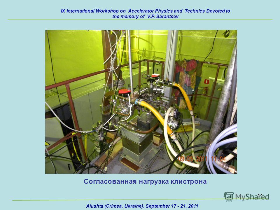 11 IX International Workshop on Accelerator Physics and Technics Devoted to the memory of V.P. Sarantsev Alushta (Crimea, Ukraine), September 17 - 21, 2011 Согласованная нагрузка клистрона