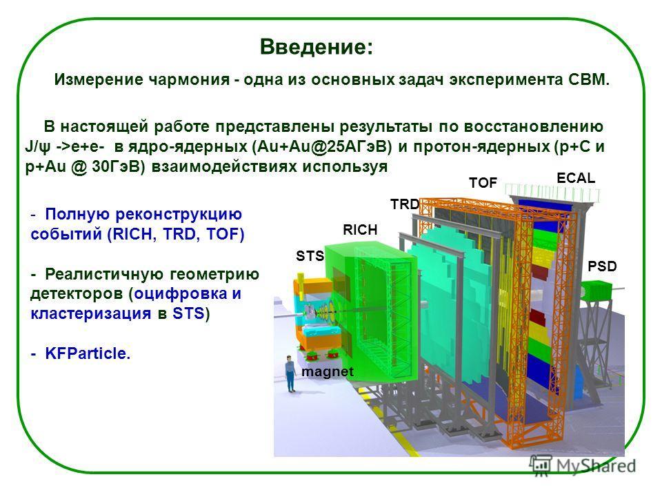 Введение: RICH TRD TOF ECAL PSD STS magnet - Полную реконструкцию событий (RICH, TRD, TOF) - Реалистичную геометрию детекторов (оцифровка и кластеризация в STS) - KFParticle. Измерение чармония - одна из основных задач эксперимента СВМ. В настоящей р