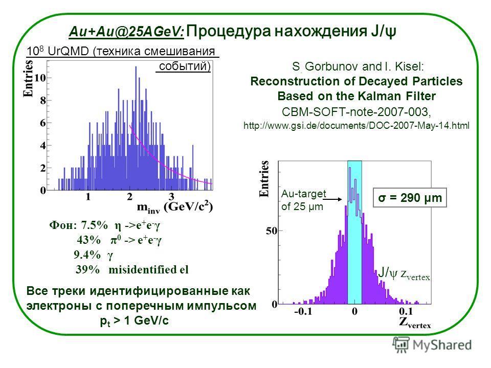 Au+Au@25AGeV: Процедура нахождения J/ψ Все треки идентифицированные как электроны с поперечным импульсом p t > 1 GeV/c Фон: 7.5% η ->e + e - γ 43% π 0 -> e + e - γ 9.4% γ 39% misidentified el 10 8 UrQMD (техника смешивания событий) J/ ψ z vertex S. G