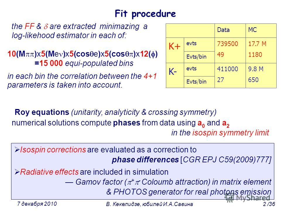 the FF & are extracted minimazing a log-likehood estimator in each of: Fit procedure Roy equations (unitarity, analyticity & crossing symmetry) numerical solutions compute phases from data using a 0 and a 2 in the isospin symmetry limit Evts/bin evts