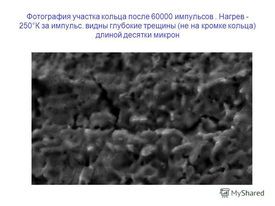 Фотография участка кольца после 60000 импульсов. Нагрев - 250°К за импульс. видны глубокие трещины (не на кромке кольца) длиной десятки микрон
