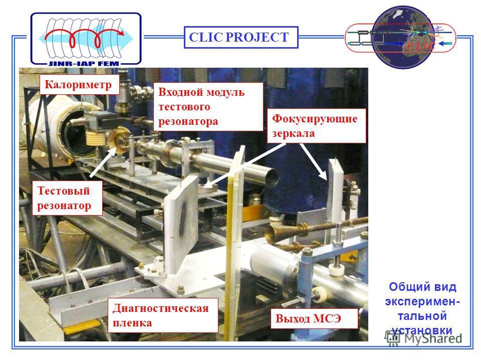 Общий вид эксперимен- тальной установки Диагностическая пленка Фокусирующие зеркала Выход МСЭ Входной модуль тестового резонатора Калориметр Тестовый резонатор CLIC PROJECT