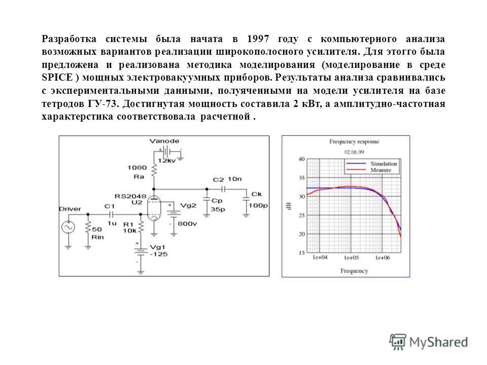 Разработка системы была начата в 1997 году с компьютерного анализа возможных вариантов реализации широкополосного усилителя. Для этогго была предложена и реализована методика моделирования (моделирование в среде SPICE ) мощных электровакуумных прибор