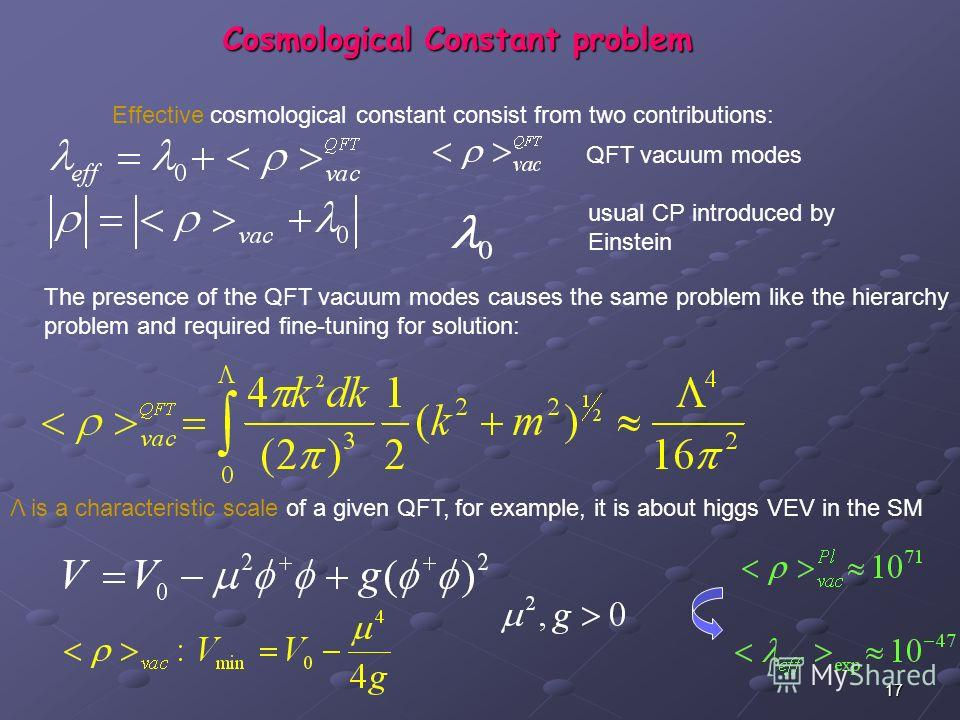 17 Cosmological Constant problem QFT vacuum modes usual CP introduced by Einstein Effective cosmological constant consist from two contributions: The presence of the QFT vacuum modes causes the same problem like the hierarchy problem and required fin