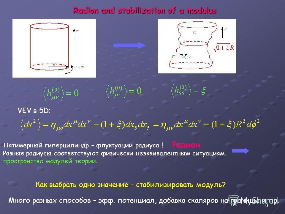 8 Radion and stabilization of a modulus VEV в 5D: Пятимерный гиперцилиндр – флуктуации радиуса ! Радион Разные радиусы соответствуют физически неэквивалентным ситуациям. пространство модулей теории. Как выбрать одно значение – стабилизировать модуль?