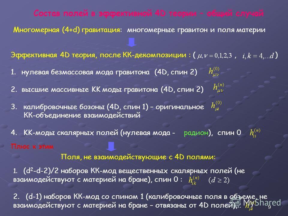 9 Многомерная (4+d) гравитация: многомерные гравитон и поля материи Эффективная 4D теория, после КК-декомпозиции : (, ) 1.нулевая безмассовая мода гравитона (4D, спин 2) 2.высшие массивные KK моды гравитона (4D, спин 2) 3. калибровочные бозоны (4D, с