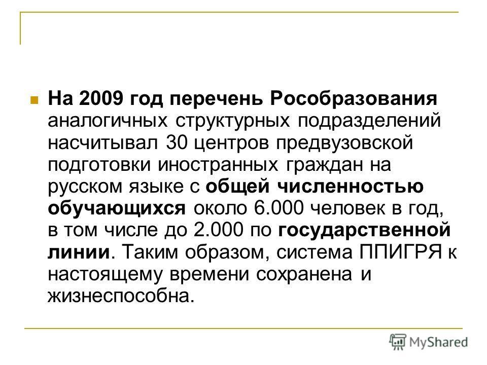 На 2009 год перечень Рособразования аналогичных структурных подразделений насчитывал 30 центров предвузовской подготовки иностранных граждан на русском языке с общей численностью обучающихся около 6.000 человек в год, в том числе до 2.000 по государс