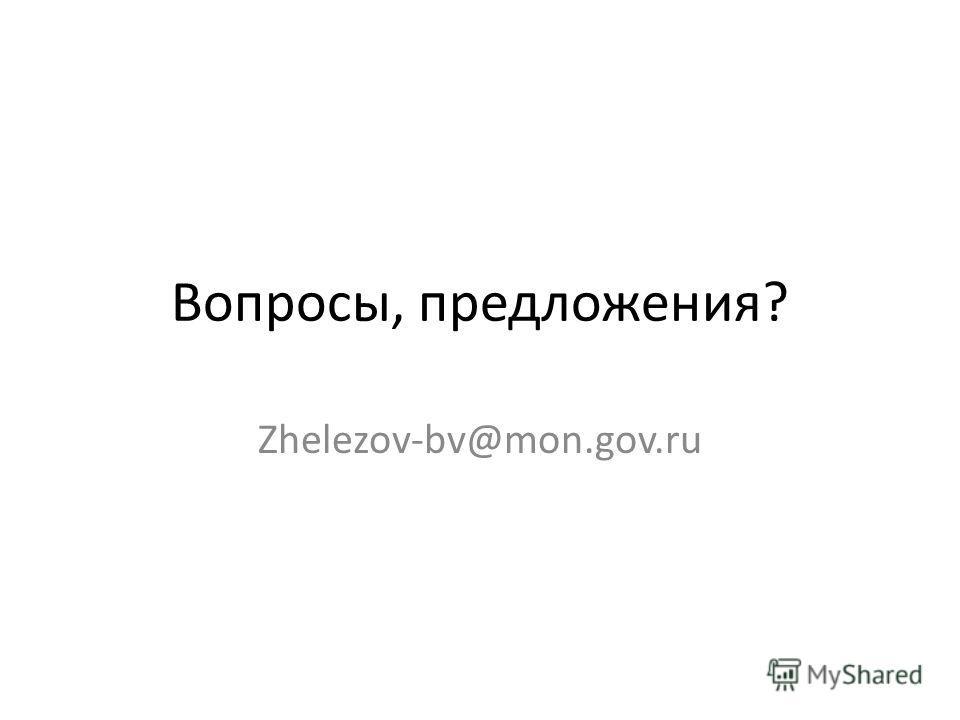 Вопросы, предложения? Zhelezov-bv@mon.gov.ru