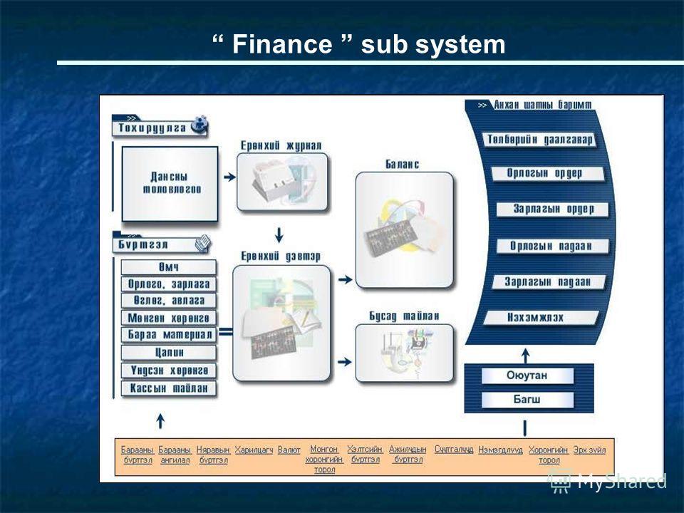 Finance sub system