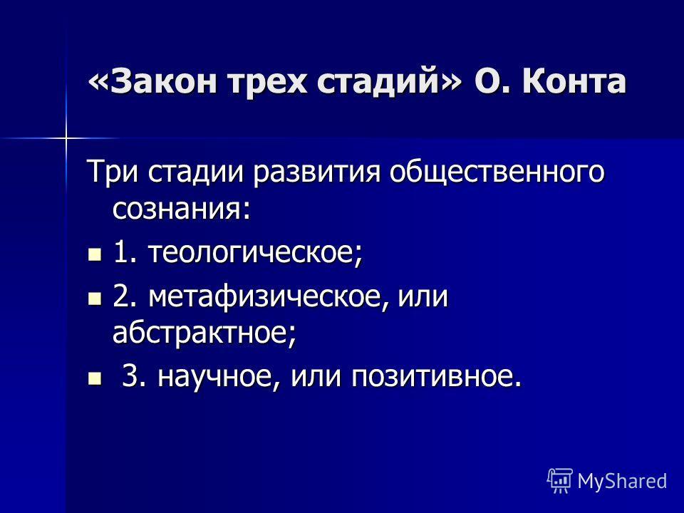 «Закон трех стадий» О. Конта Три стадии развития общественного сознания: 1. теологическое; 1. теологическое; 2. метафизическое, или абстрактное; 2. метафизическое, или абстрактное; 3. научное, или позитивное. 3. научное, или позитивное.