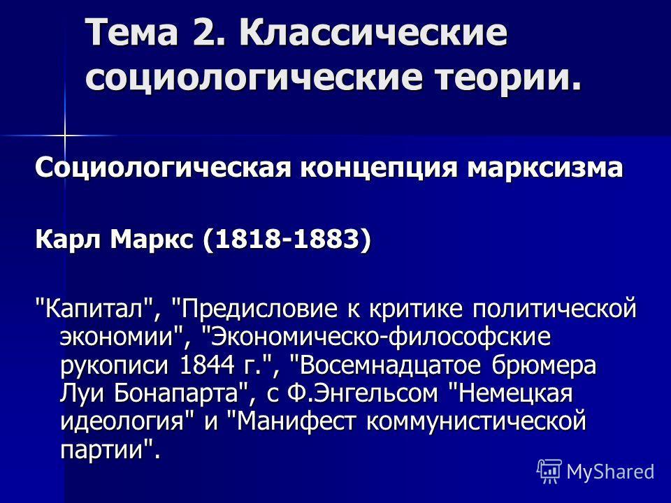 Тема 2. Классические социологические теории. Социологическая концепция марксизма Карл Маркс (1818-1883)