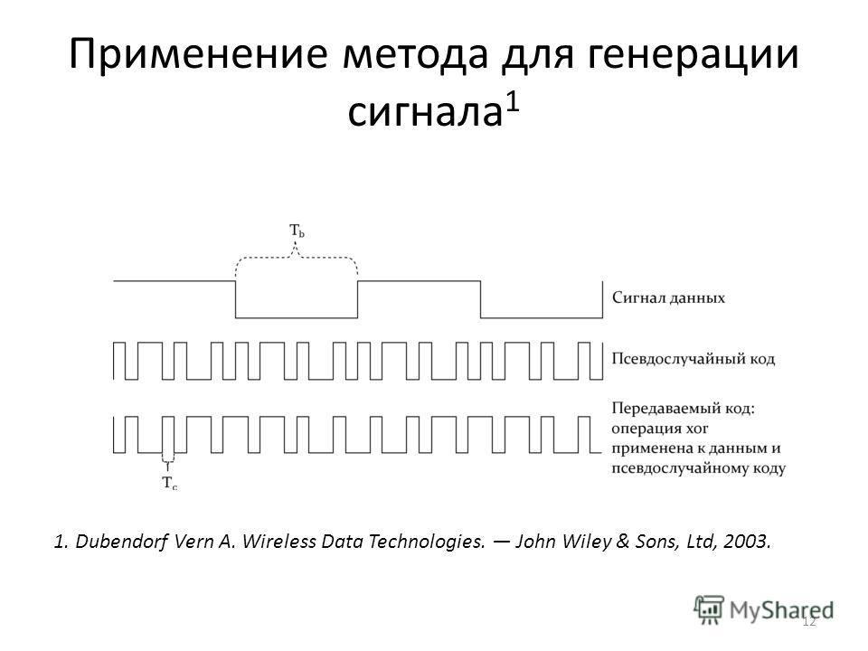 Применение метода для генерации сигнала 1 12 1. Dubendorf Vern А. Wireless Data Technologies. John Wiley & Sons, Ltd, 2003.