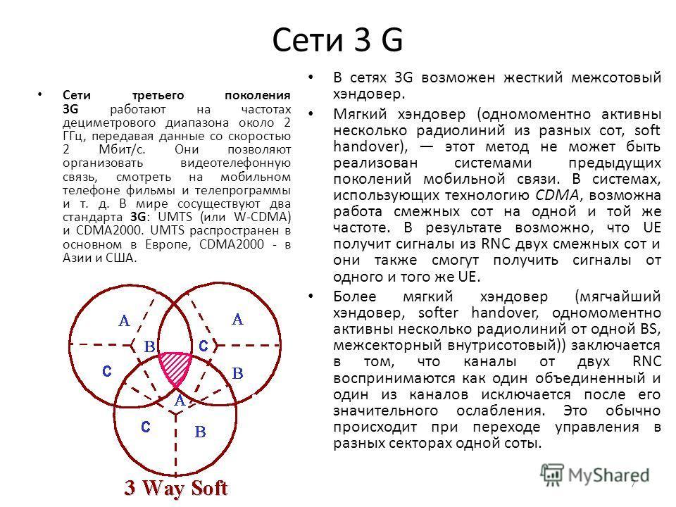 Сети 3 G Сети третьего поколения 3G работают на частотах дециметрового диапазона около 2 ГГц, передавая данные со скоростью 2 Мбит/с. Они позволяют организовать видеотелефонную связь, смотреть на мобильном телефоне фильмы и телепрограммы и т. д. В ми