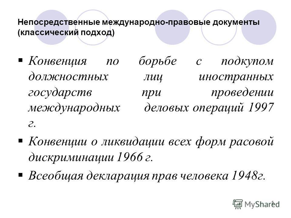 5 Непосредственные международно-правовые документы (классический подход) Конвенция по борьбе с подкупом должностных лиц иностранных государств при проведении международных деловых операций 1997 г. Конвенции о ликвидации всех форм расовой дискриминаци