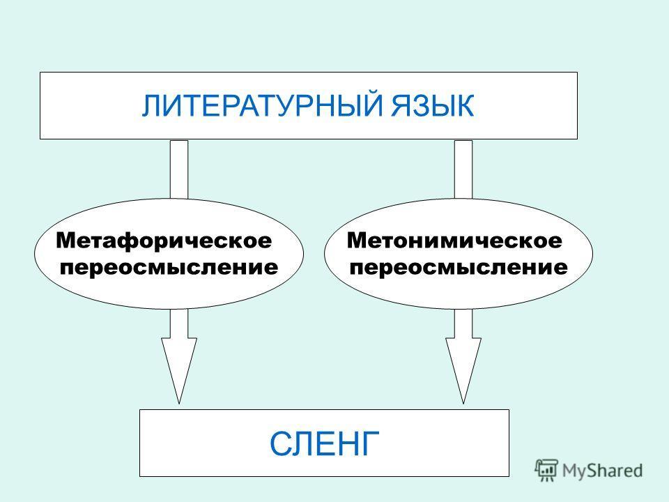 ЛИТЕРАТУРНЫЙ ЯЗЫК Метафорическое переосмысление Метонимическое переосмысление СЛЕНГ