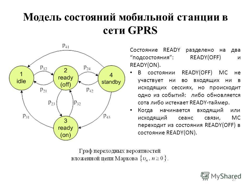 Модель состояний мобильной станции в сети GPRS 27 Состояние READY разделено на два подсостояния: READY(OFF) и READY(ON). В состоянии READY(OFF) МС не участвует ни во входящих ни в исходящих сессиях, но происходит одно из событий: либо обновляется сот