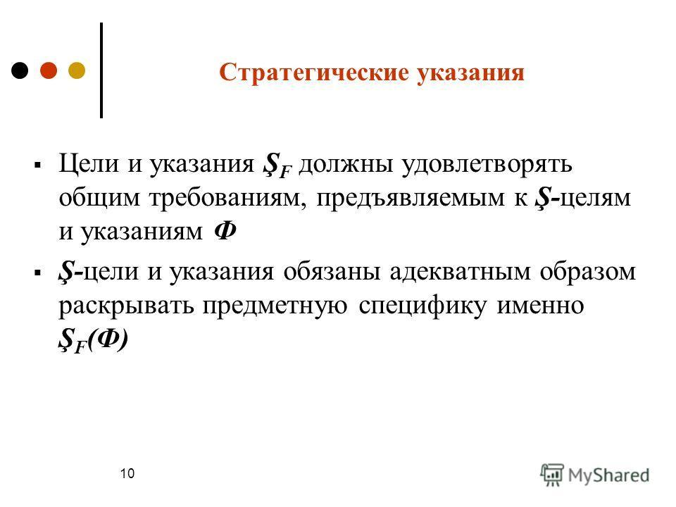 10 Стратегические указания Цели и указания Ş F должны удовлетворять общим требованиям, предъявляемым к Ş-целям и указаниям Ф Ş-цели и указания обязаны адекватным образом раскрывать предметную специфику именно Ş F (Ф)