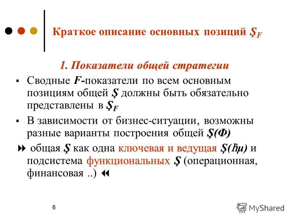 6 Ş F Краткое описание основных позиций Ş F 1. Показатели общей стратегии Ş F Сводные F-показатели по всем основным позициям общей Ş должны быть обязательно представлены в Ş F Ş(Ф) В зависимости от бизнес-ситуации, возможны разные варианты построения