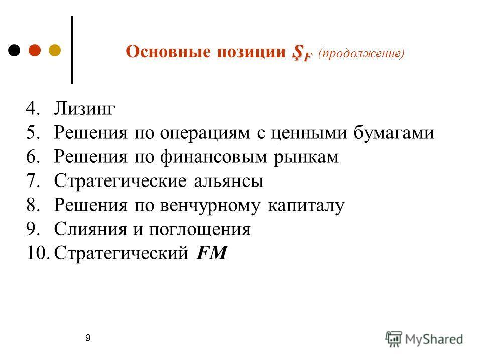 9 Ş F Основные позиции Ş F (продолжение) 4.Лизинг 5.Решения по операциям с ценными бумагами 6.Решения по финансовым рынкам 7.Стратегические альянсы 8.Решения по венчурному капиталу 9.Слияния и поглощения 10.Стратегический FM