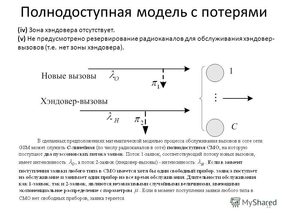 Полнодоступная модель с потерями 11 (iv) Зона хэндовера отсутствует. (v) Не предусмотрено резервирование радиоканалов для обслуживания хэндовер- вызовов (т.е. нет зоны хэндовера).